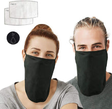 Load image into Gallery viewer, Lightweight Breathable Open Bottom Face Mask with Filter Pocket |  Half Neck Gaiter for Men & Women with Adjustable Ear Straps | 2 Masks