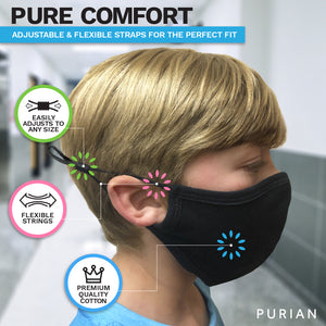Purian Kids Face Mask, Reusable with Adjustable Ear Straps, Premium Multi Layer Antimicrobial Cotton Fabric, Fits Toddlers to Teens, Small | Black | 1-4 Pack