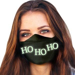 Holiday Reusable Face Masks for Adults | Glow in the Dark ! | 20+ Designs | USA MADE | Christmas Adjustable Size Washable Cloth Mouth Masks with Elastic Straps for All Day Use