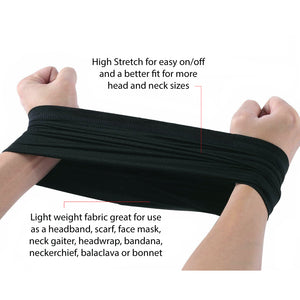 Neck Gaiter dust, wind, sun face mask Multi-use comfortable stretch fabric with sewn edge, UV protection