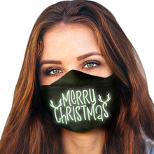 Load image into Gallery viewer, Holiday Reusable Face Masks for Adults | Glow in the Dark ! | 20+ Designs | USA MADE | Christmas Adjustable Size Washable Cloth Mouth Masks with Elastic Straps for All Day Use