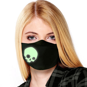 Novelty Reusable Face Masks for Adults | Glow in the Dark! | 25+ Designs | USA MADE | Adjustable Washable Cloth Mouth Masks with Elastic Straps for All Day Use