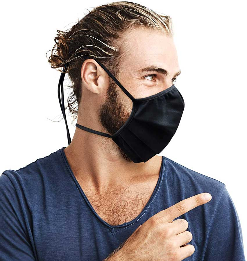 Purian Face Mask Adult XL for Men with Beards | Straps with Quick Fit Cord Lock Toggles for All Day Use