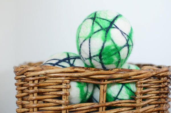 Green Stripe Dryer Balls - Redheadnblue