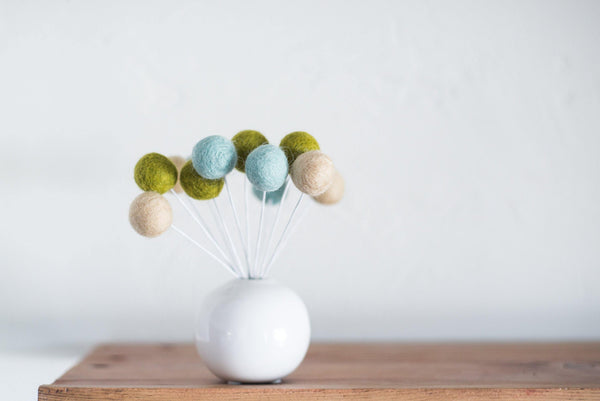 Olive & Baby Blue Felt Ball Bouquet
