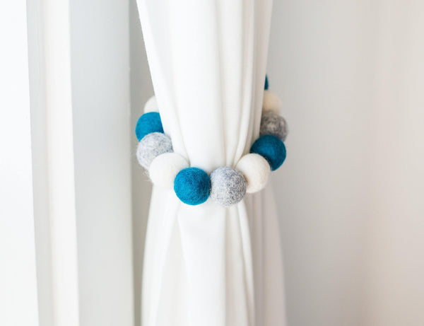 Teal & Neutrals Curtain Ties - Redheadnblue