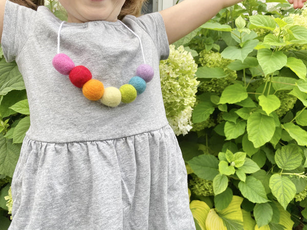 Felt Ball Rainbow Necklace