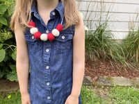 Red & White Felt Ball Necklace