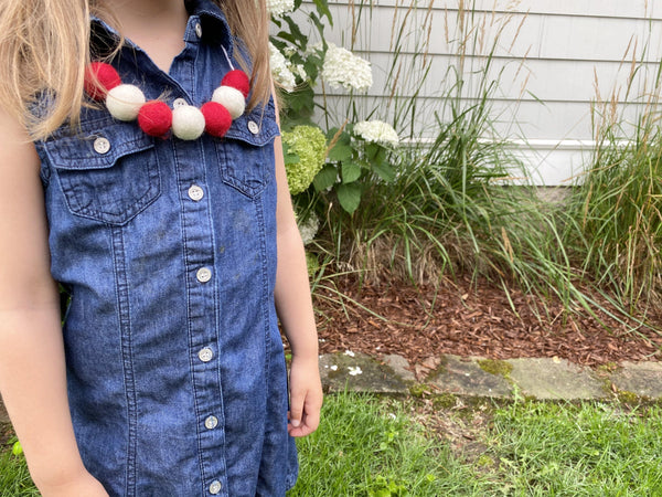 Red & White Felt Ball Necklace - Redheadnblue
