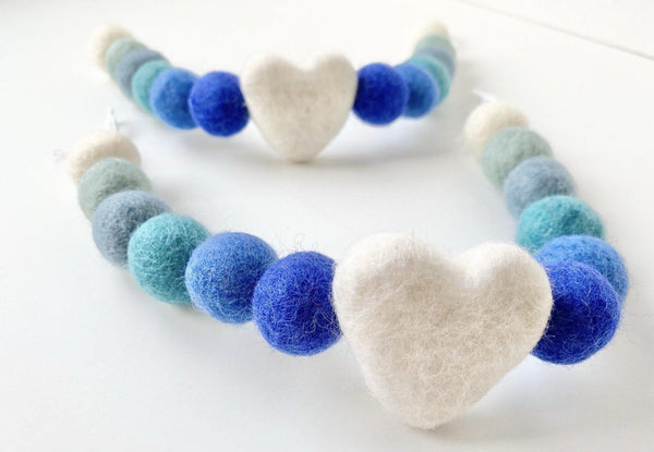 Blue Ombre Heart Curtain Ties