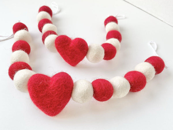 Red & White Heart Curtain Ties