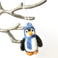 Red or Blue Penguin Felted Ornaments