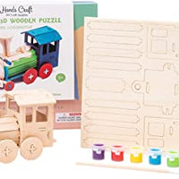 Wooden Puzzle with Paint Kit: Train