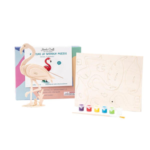 Wooden Puzzle with Paint Kit: Flamingo