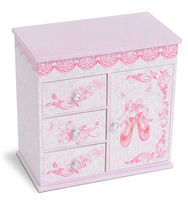 Floral Musical Jewelry Box - 3 Drawers