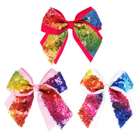 Rainbow sequin jumbo bow hairclip