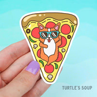 Cat Lounging on a Pizza Float Vinyl Sticker