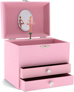 Solid Pink Musical Jewelry Chest - 2 Drawers