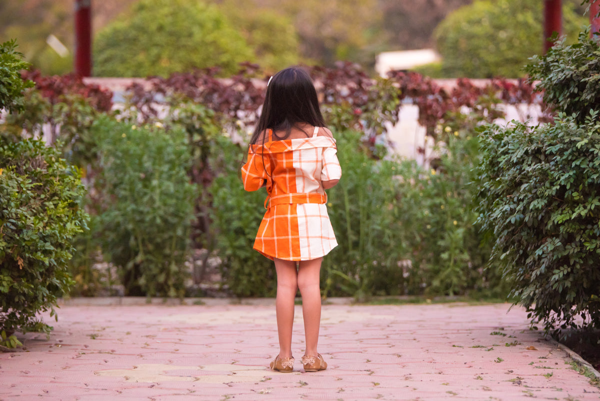 Check Pattern Off Shoulder Off White And Orange Dress