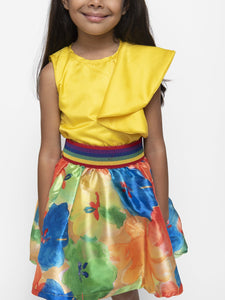 Fairies Forever Yellow Top and Multi Color Skirt