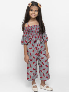 Fairies Forever Half Sleeves Watermelon Print Off Shoulder Jumpsuit-Grey