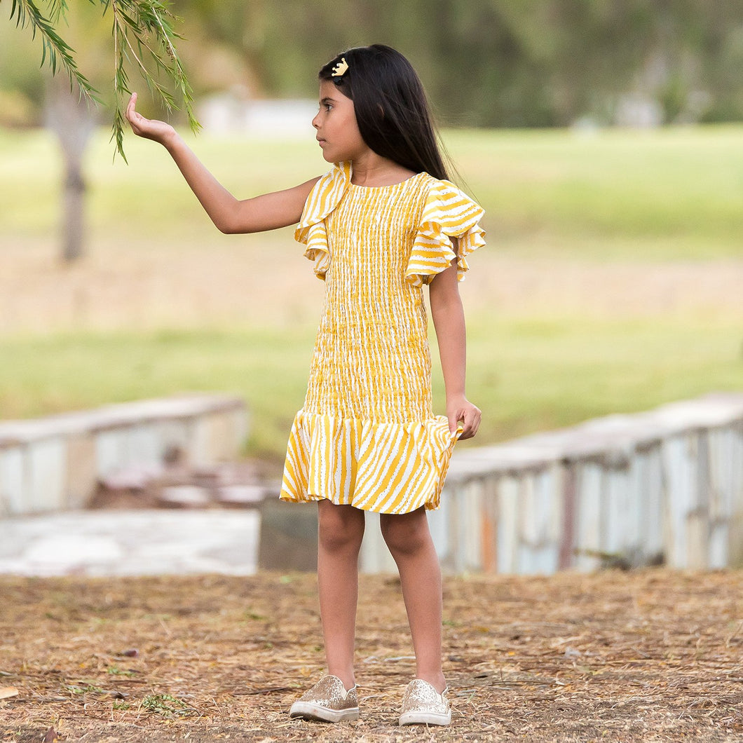 Fairies Forever Smocking Yellow Frilly Dress