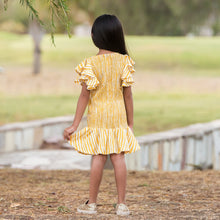 Load image into Gallery viewer, Fairies Forever Smocking Yellow Frilly Dress