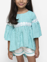 Load image into Gallery viewer, Fairies Forever High Low Turquoise Top and Short set