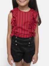 Load image into Gallery viewer, Fairies Forever Red Frilly Top and Black Shorts