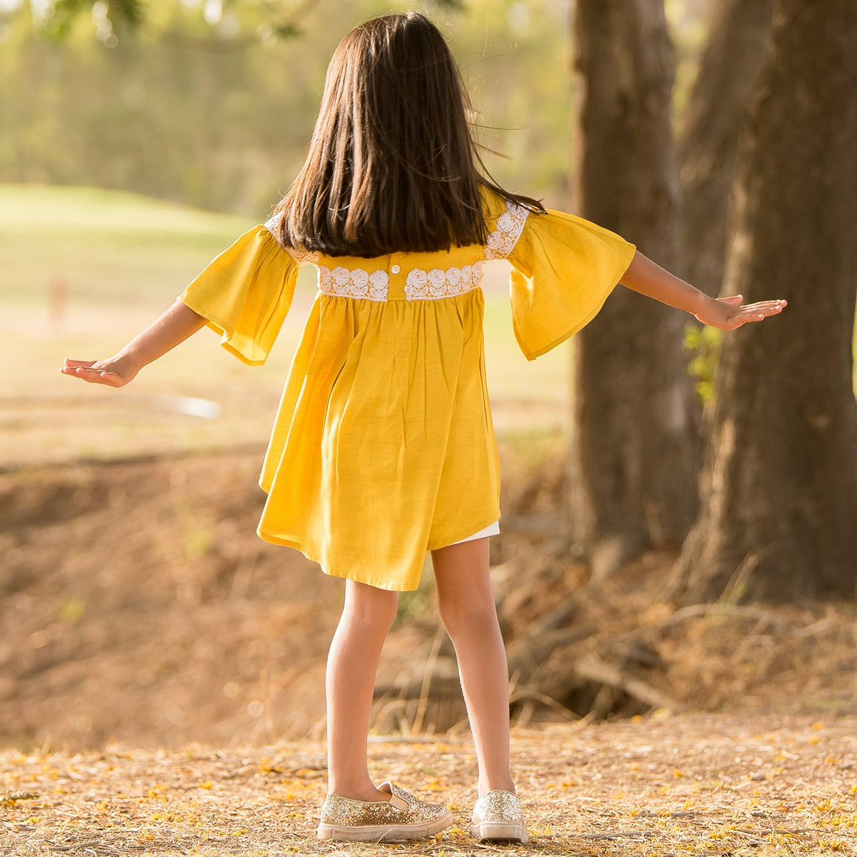 Yellow High Low Top with White Shorts set