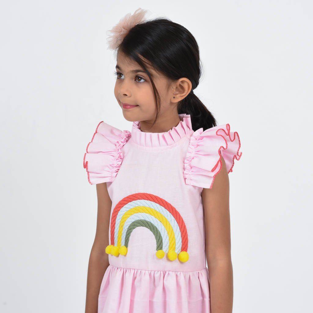 Fairies Forever Pink Linen Rain bow Dress