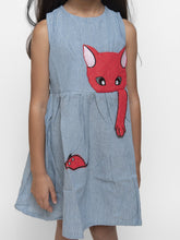 Load image into Gallery viewer, Fairies Forever Kittyon my Denim Dress