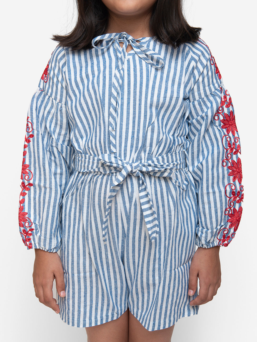 Blue Stripes Floral Full Sleeves Jumpsuit