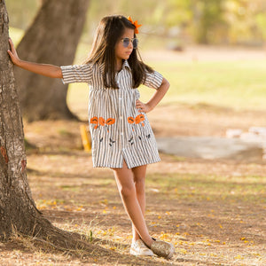 Fairies Forever Grey StriPes with Embroidery Dresss