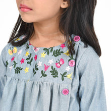 Load image into Gallery viewer, Fairies Forever Oxford dress full Sleeves with Embroidery