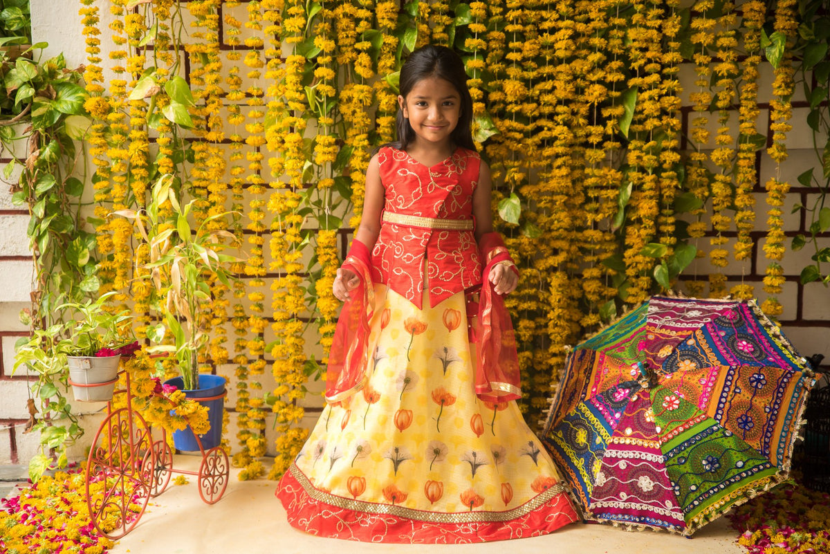 Art Embroidered Sleeveless Yellow Blouse With Lehenga Set