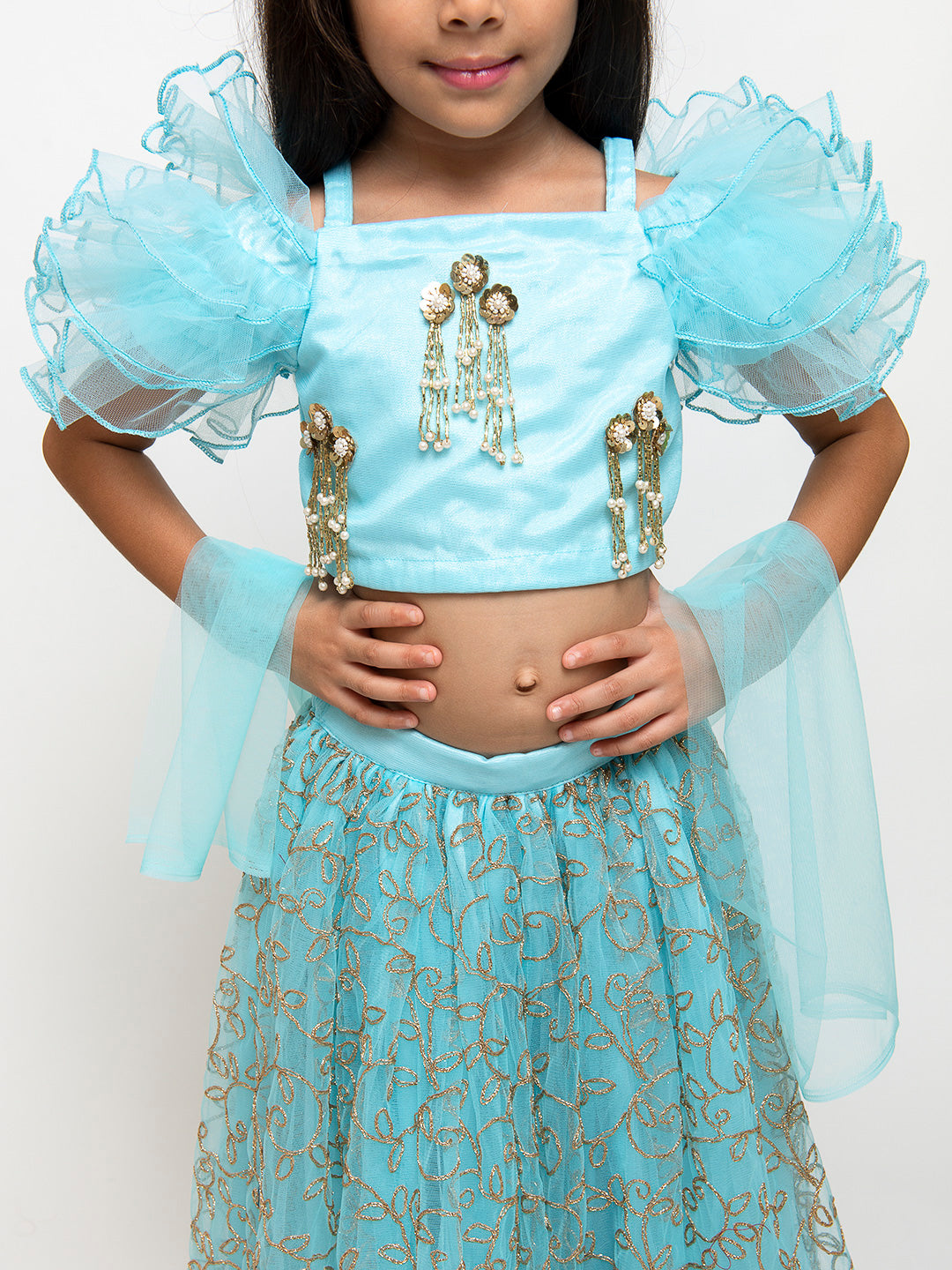 Blue Ruffled Blouse with Embroidered Lehenga