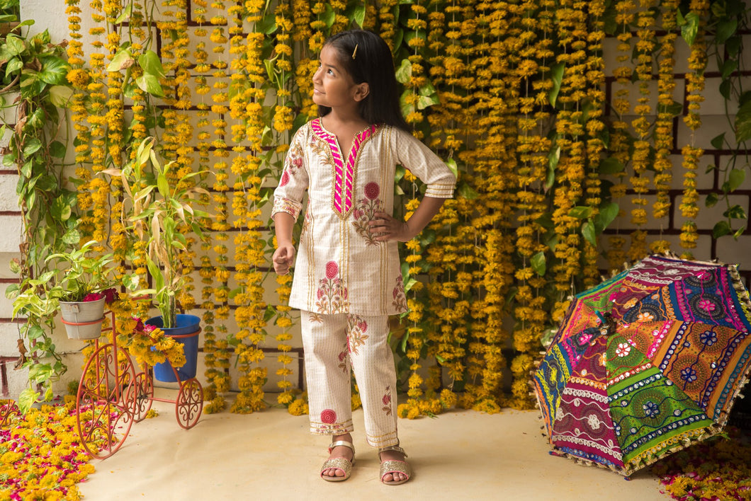 Fairies Forever Hand Made Block Print Kurta with Pants