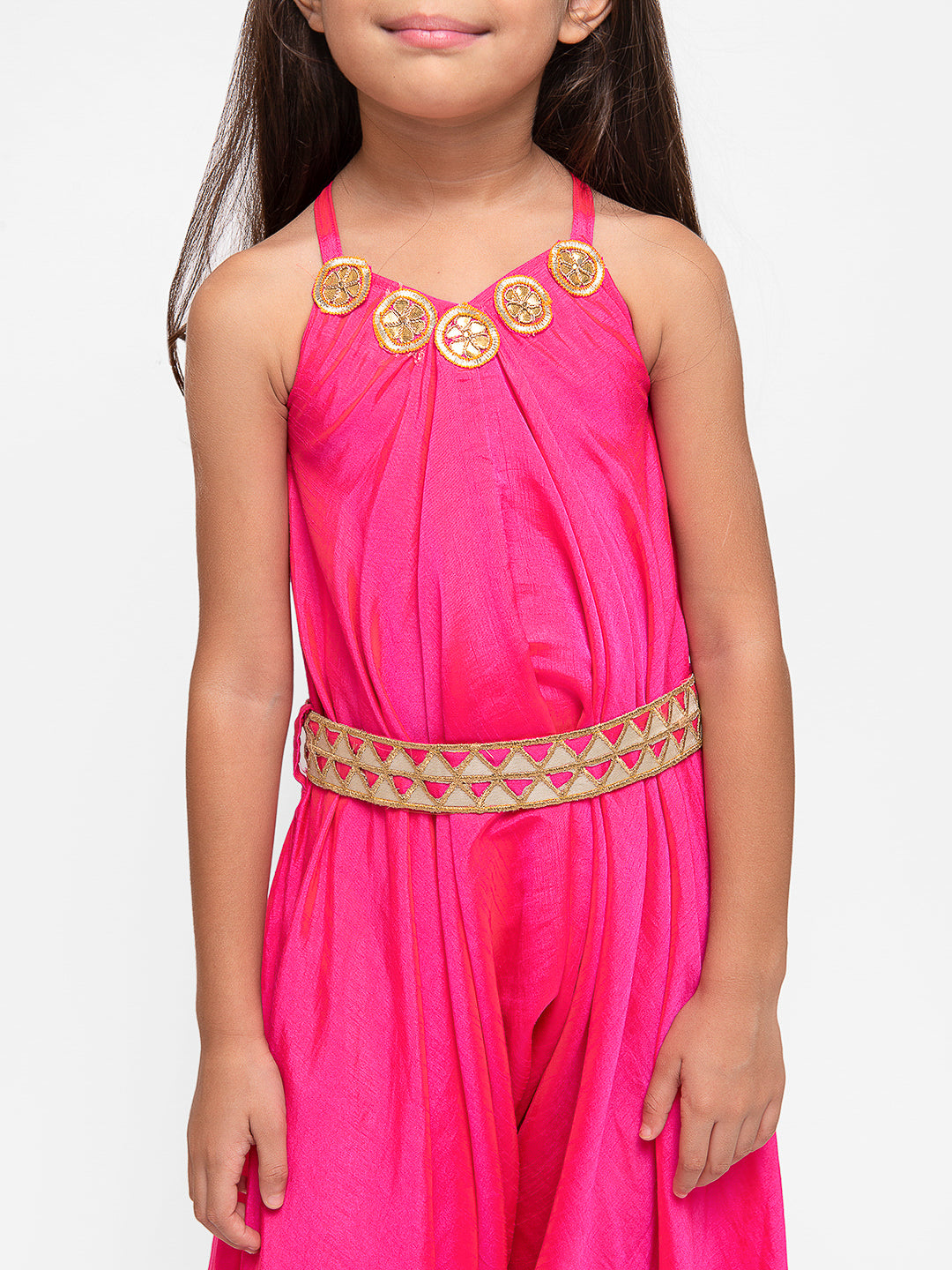 Pink Applique Sleeveless Jumpsuit