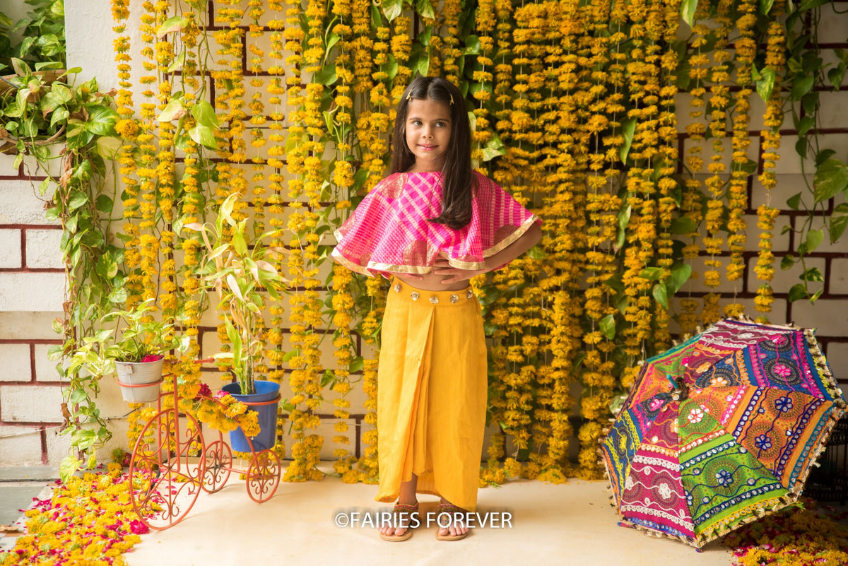 Cape Top with Dhoti Skirt-Pink and Yellow Set