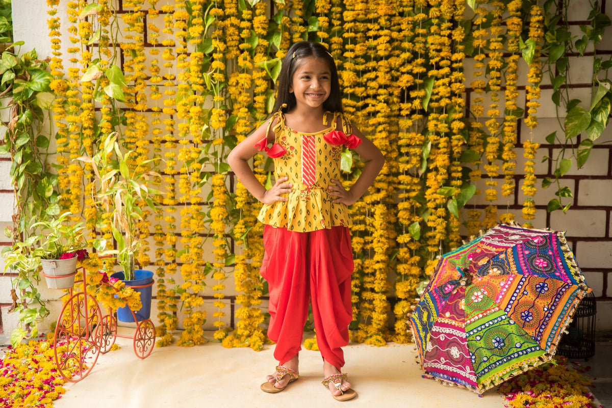 Yellow Top with Red Dhoti Pants