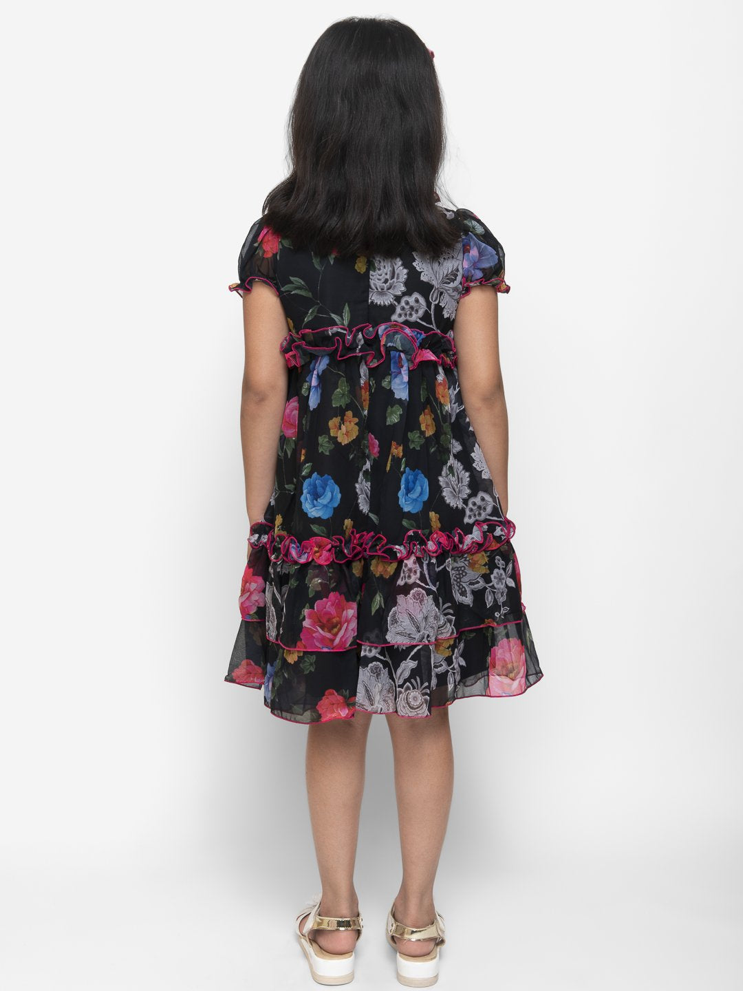 Fairies Forever Floral Black Party Dress