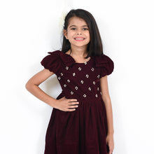 Load image into Gallery viewer, Fairies Forever Maroon Velvet Party Dress
