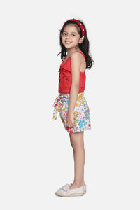 Fairies Forever Sleeveless Summer Dress Shorts-Red and White
