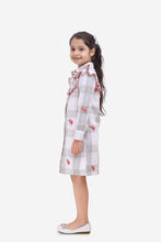 Load image into Gallery viewer, Fairies Forever Shirt Style A line Cotton Dress with Embroidery-Pink and Grey