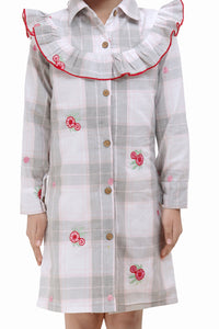 Fairies Forever Shirt Style A line Cotton Dress with Embroidery-Pink and Grey