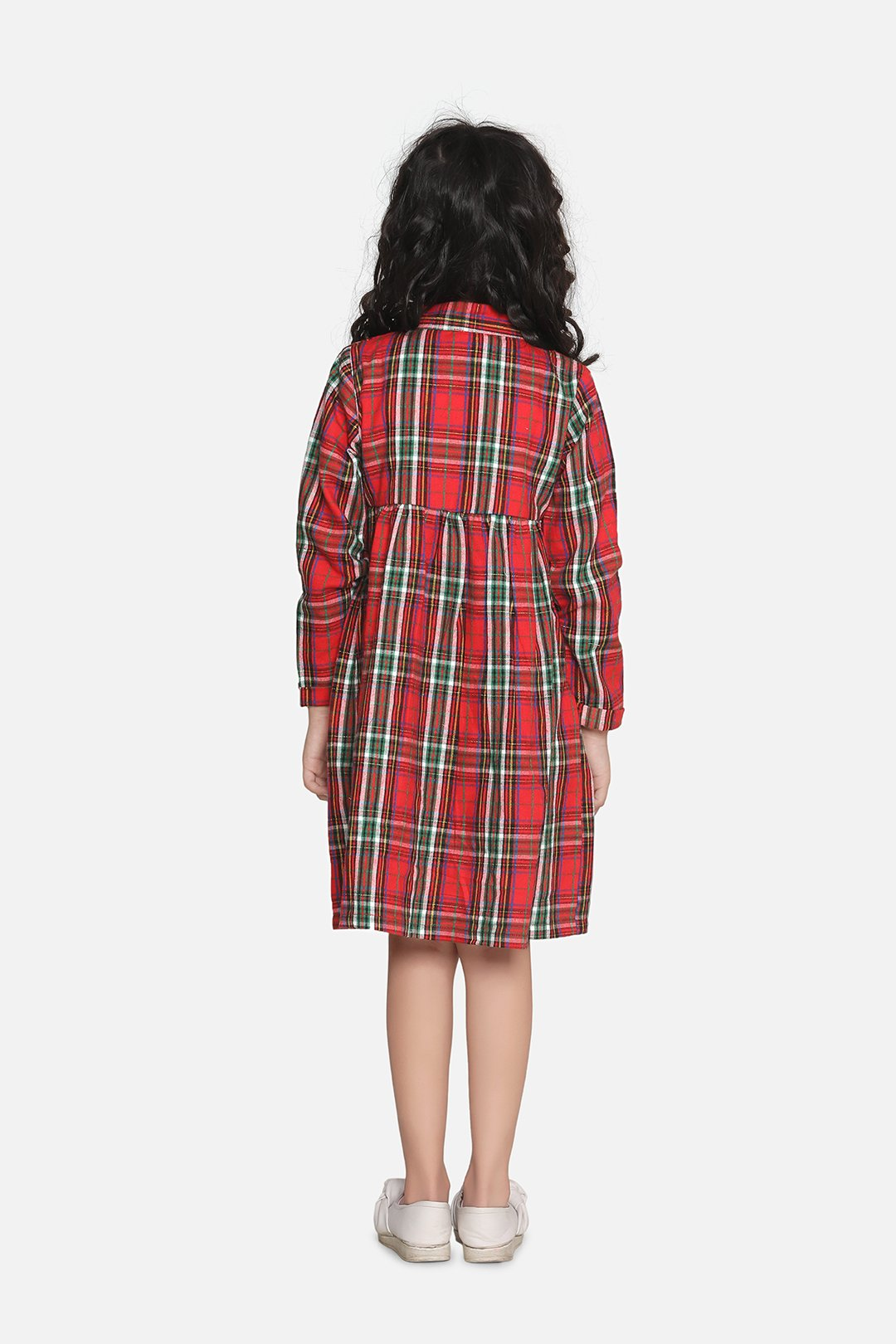 Fairies Forever Front Frill Plaid Dress-Red