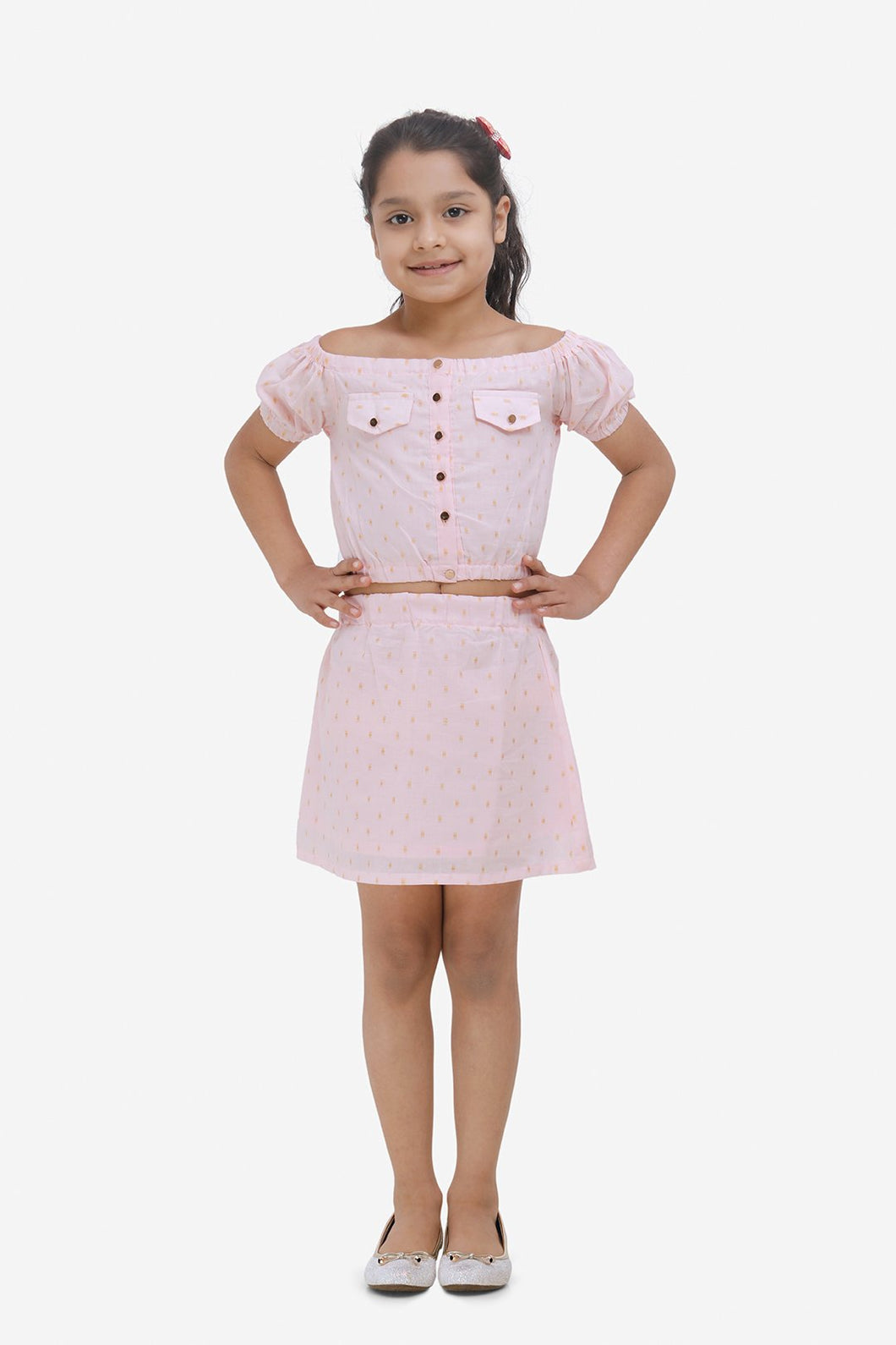 Fairies Forever Dot Skirt and Top Set-Pink and Gold