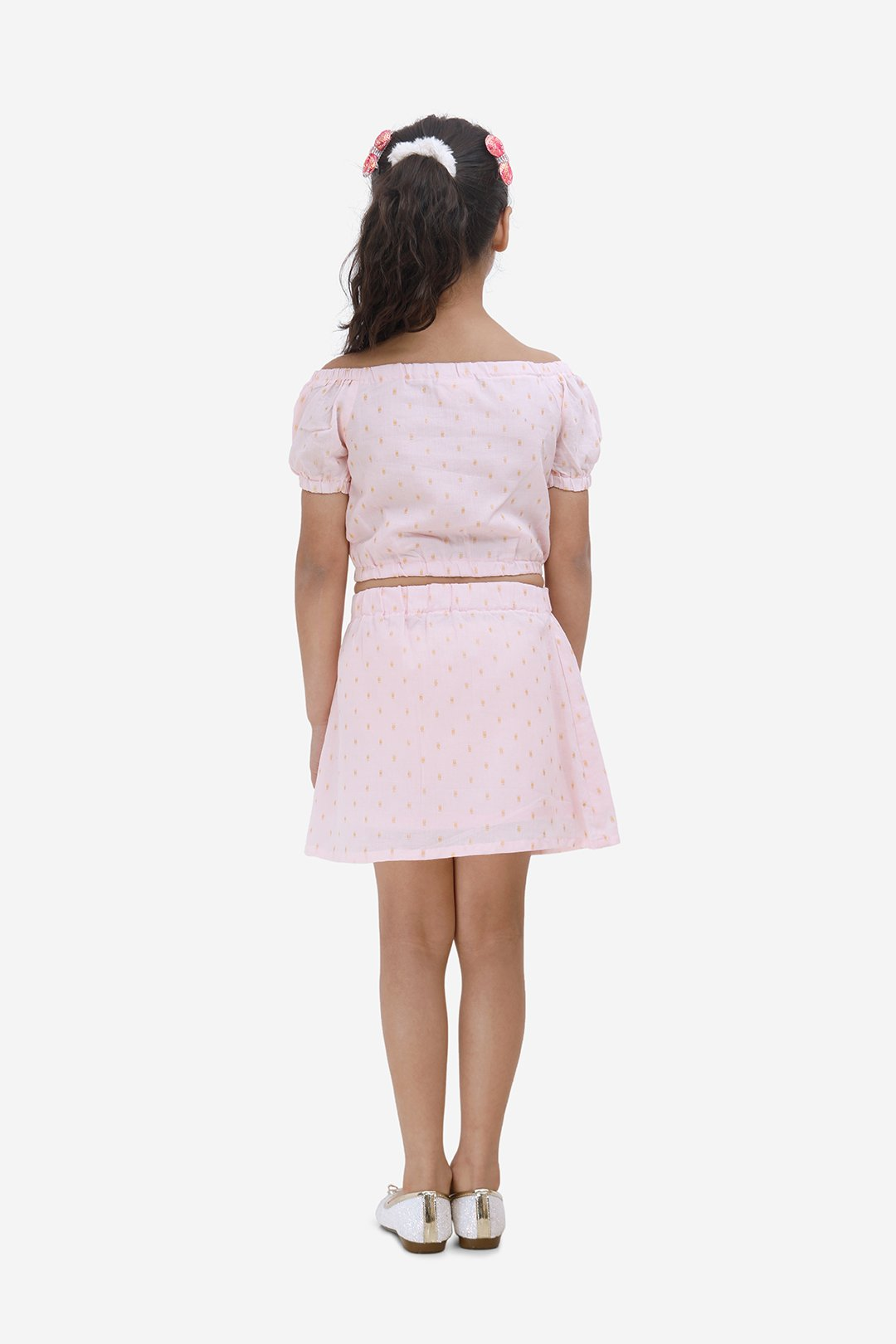Dot Skirt and Top Set-Pink and Gold