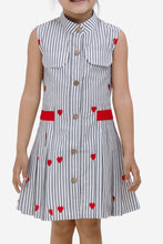 Load image into Gallery viewer, Fairies Forever Heart Print Front Pleated Casual Dress-Red and Grey